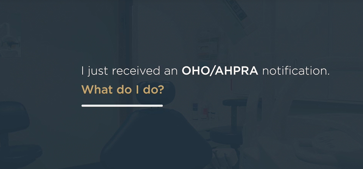 OHO/AHPRA Notifications